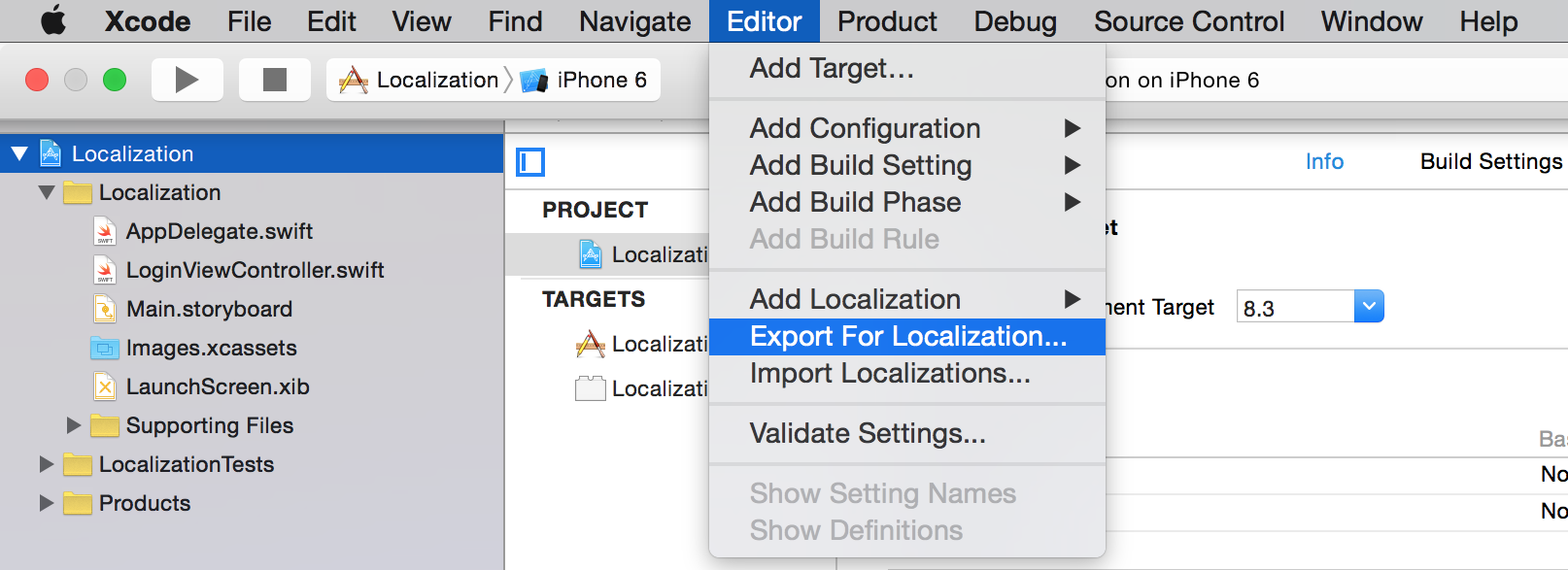 Export for Localizations